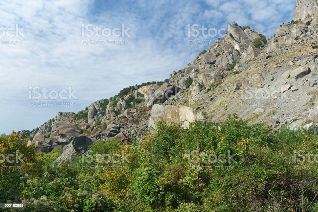 The steep slope of the mountain South Demerdzhi in the Crimea. stock photo