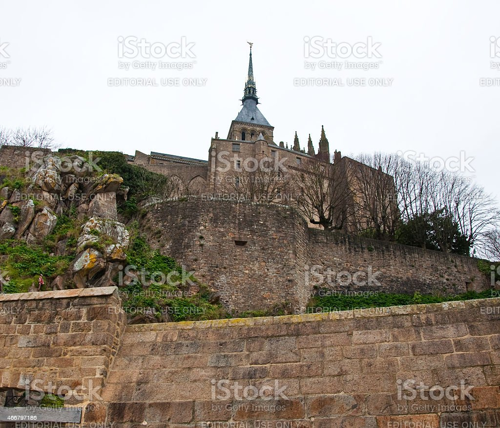 The steeple on the top of Saint Michael's Mount.Normandy, France. stock photo