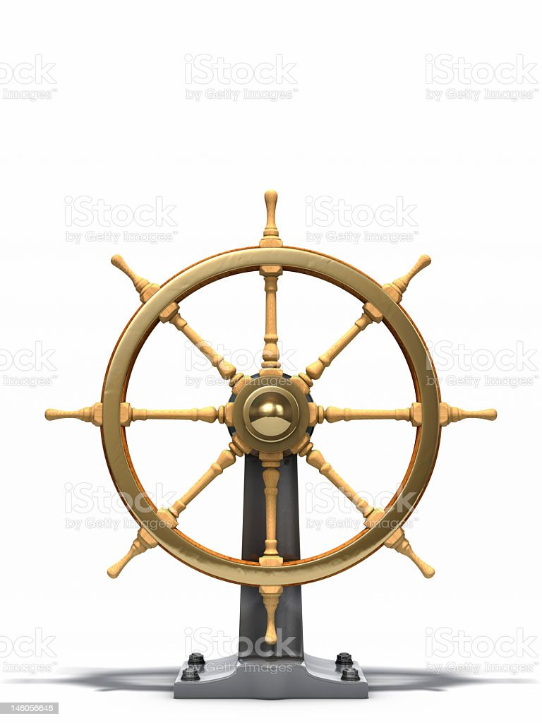 The steering wheel from an old nautical ship  stock photo