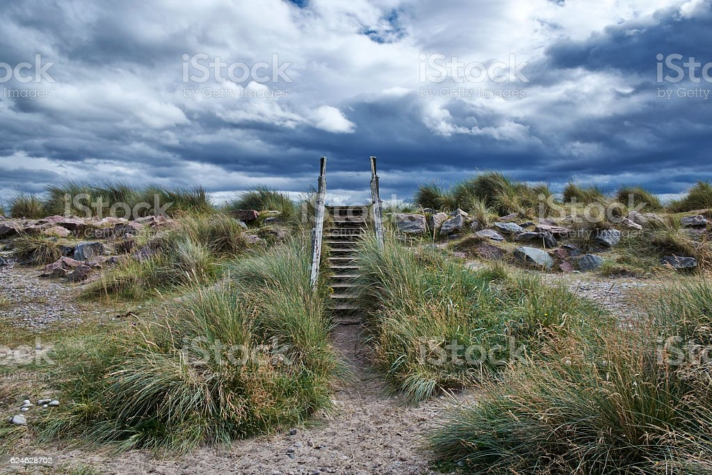 The Steps Of Findhorn Beach In Scotland stock photo