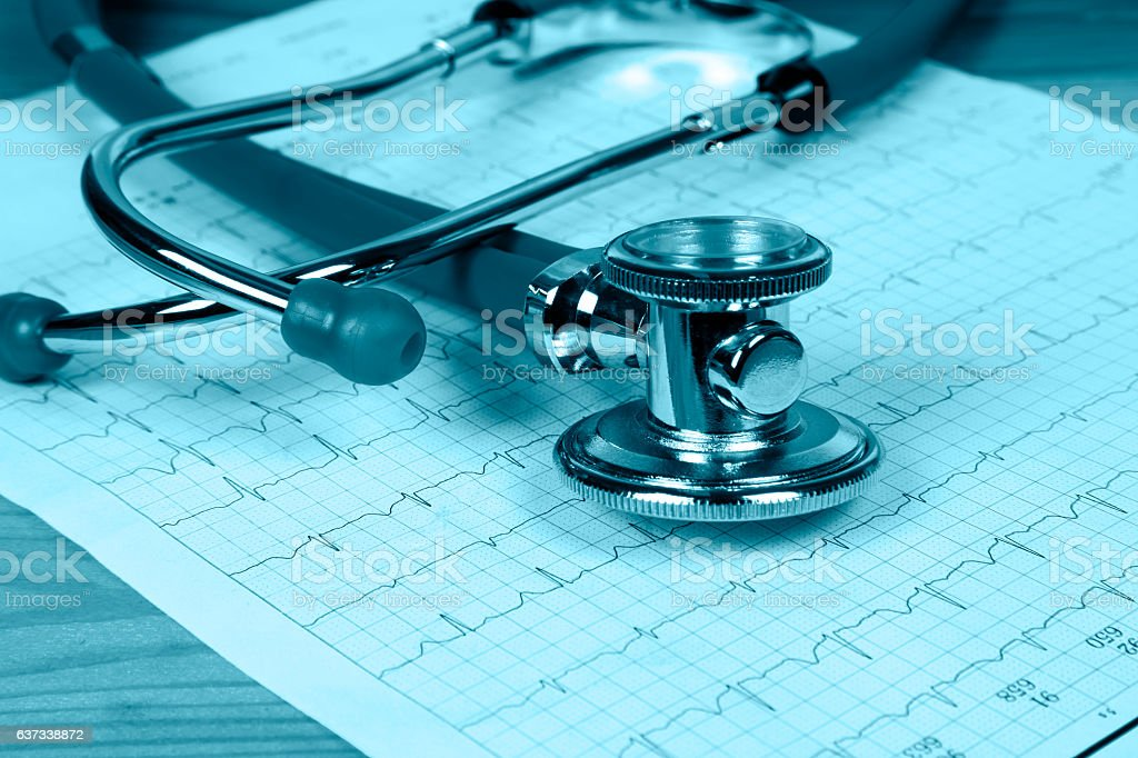 The stethoscope and electrocardiogram stock photo