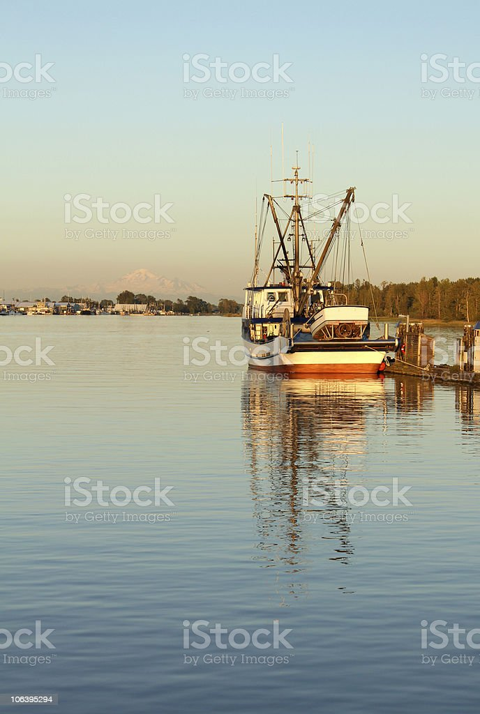 The Stevenson Harbor in The British Colombia in the evening stock photo