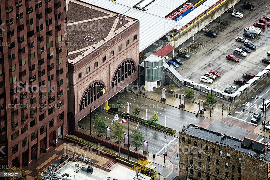 The Stock Exchange Building and Congress Parkway, Chicago stock photo