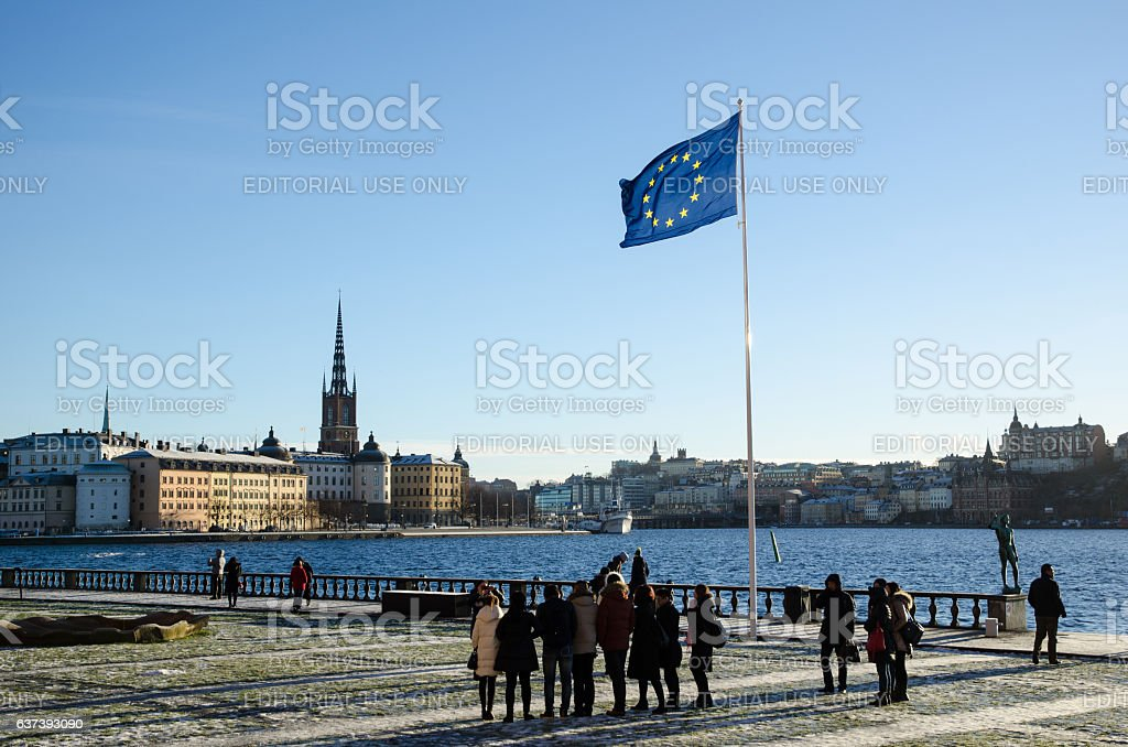 The Stockholm City Hall terrass stock photo