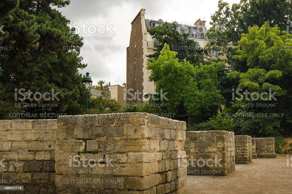 The stone bleachers at Arenes de Lutece in Paris stock photo