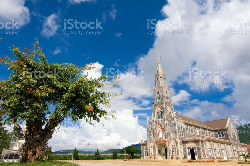 The stone church at Dran town, Dalat, Vietnam stock photo