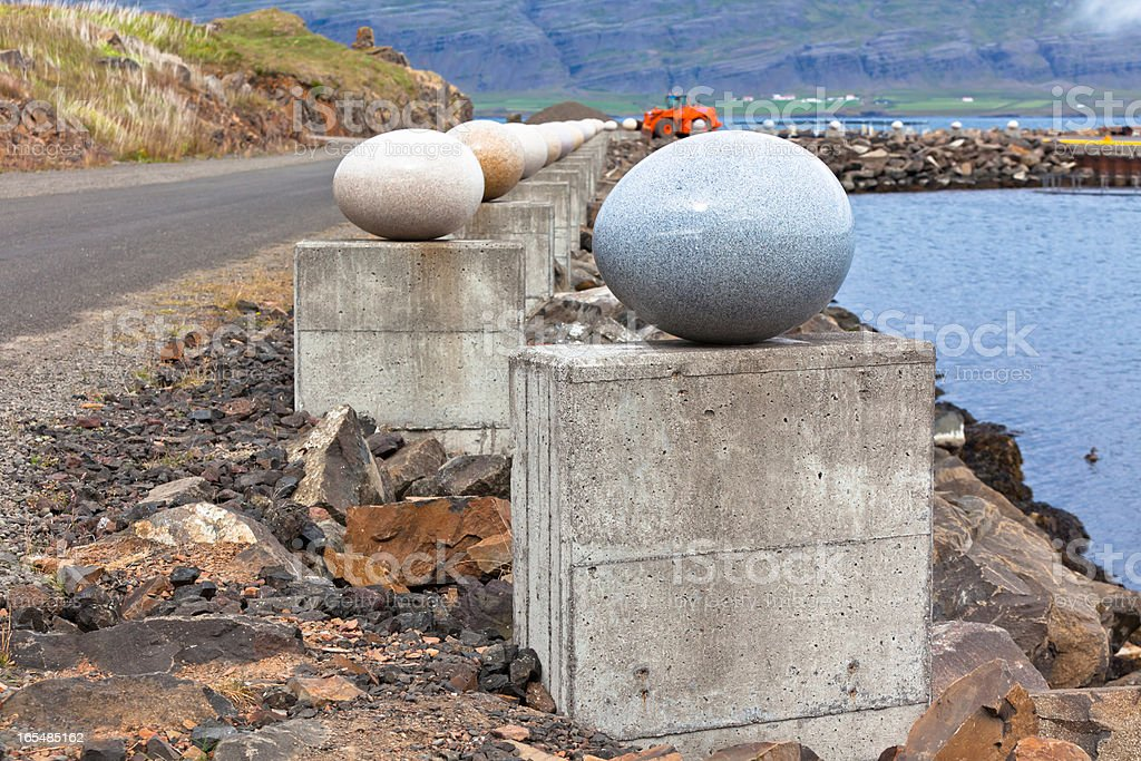 The Stone Eggs of Merry Bay, Djupivogur, Iceland royalty-free stock photo