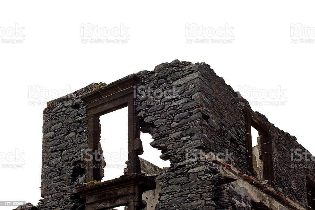 The stone ruins on white background royalty-free stock photo