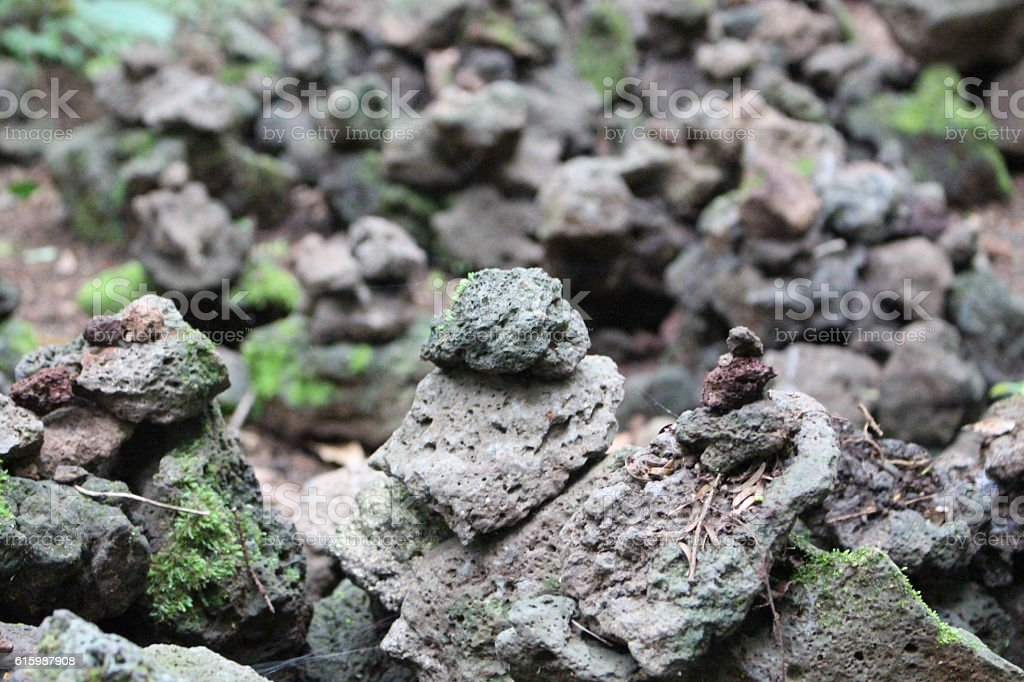 The stone towers in Jeju Island stock photo