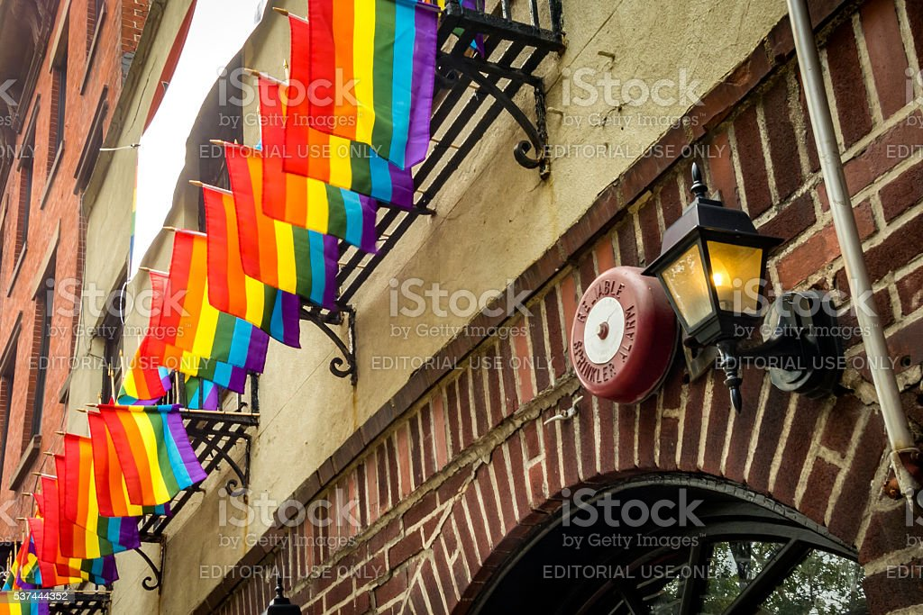 The Stonewall Inn on  Christopher Street in New York stock photo
