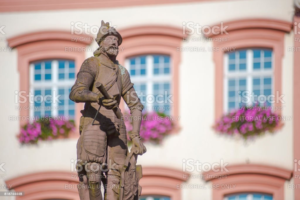The Stony Knight on the fountain Röhrbrunnen in Gengenbach stock photo