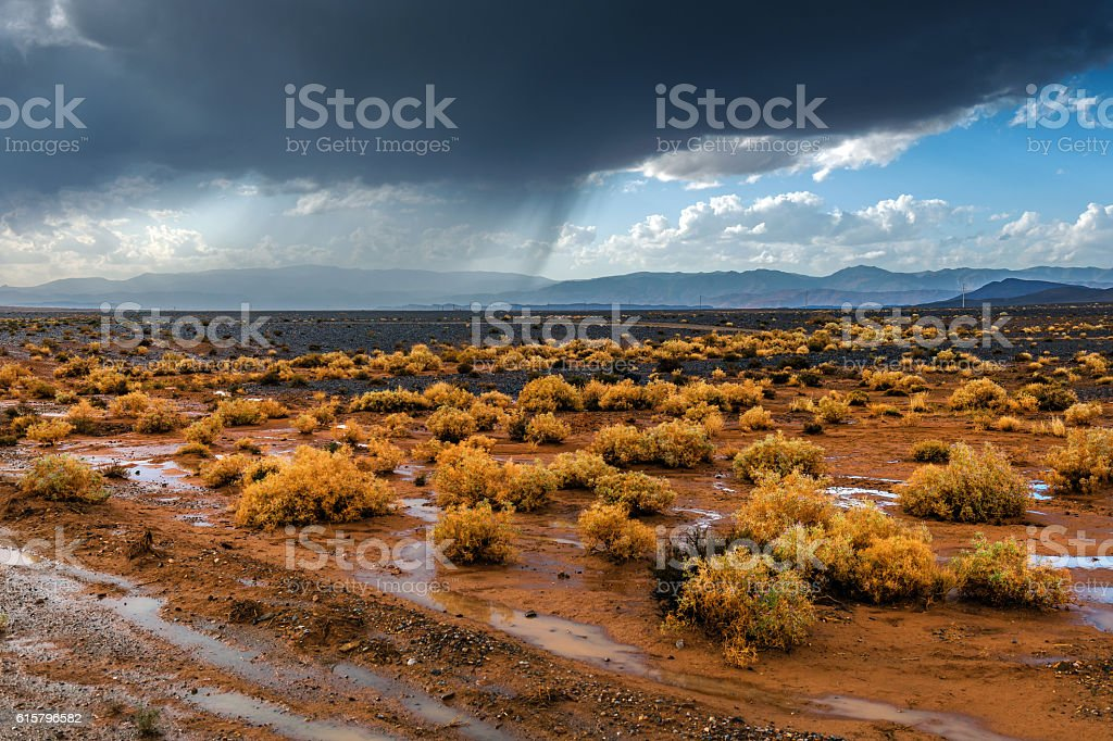 The storm in the Sahara desert in the afternoon,Morocco stock photo