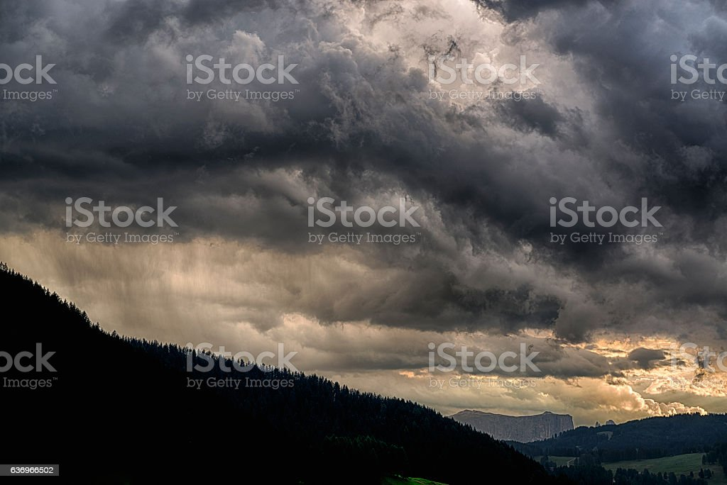 The storm is coming over the valley stock photo