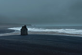 The storm on the Black Beach of Vik, Iceland