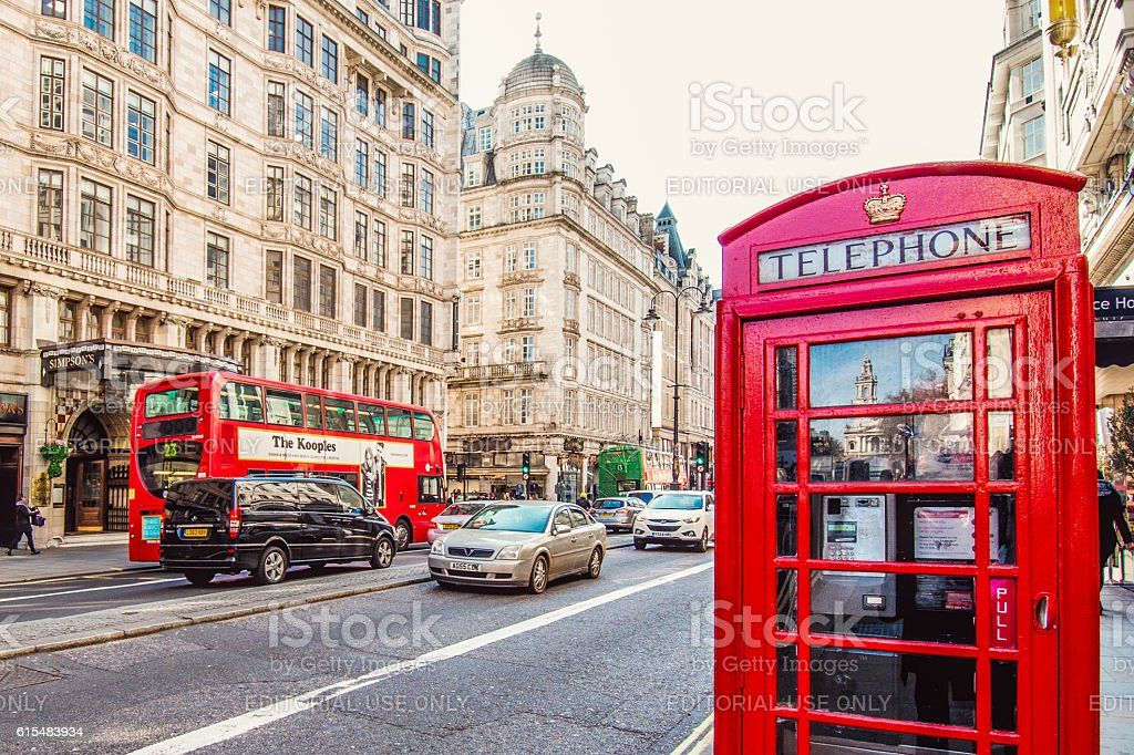 The Strand in London with Telephone Booth stock photo