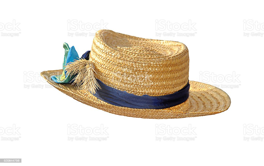 The straw hat with jewelry isolated on white stock photo