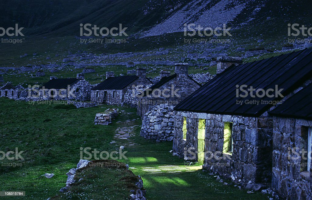 The Street at dusk, St. Kilda, Scotland stock photo