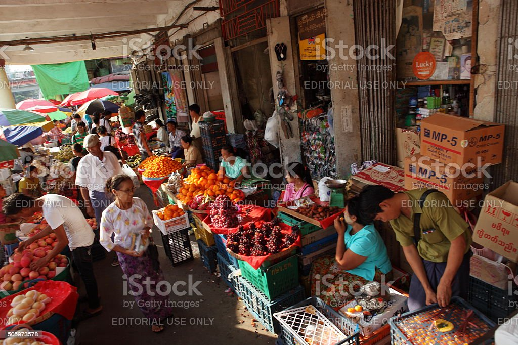 the street market of Rangoon in Myanmar stock photo