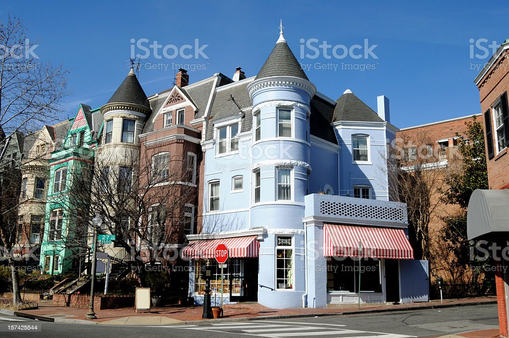 The streets of Georgetown in Washington stock photo