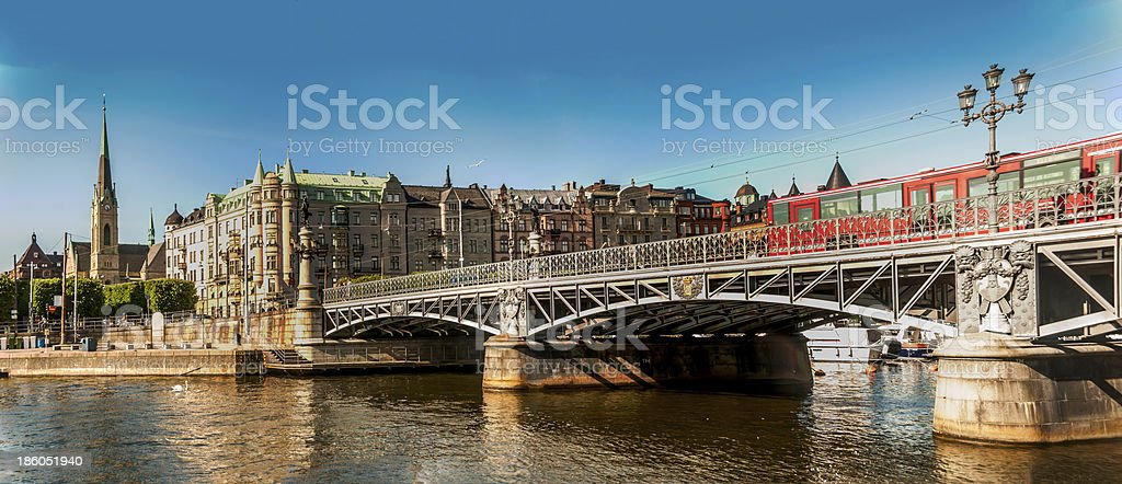 The streets of Stockholm in summer royalty-free stock photo