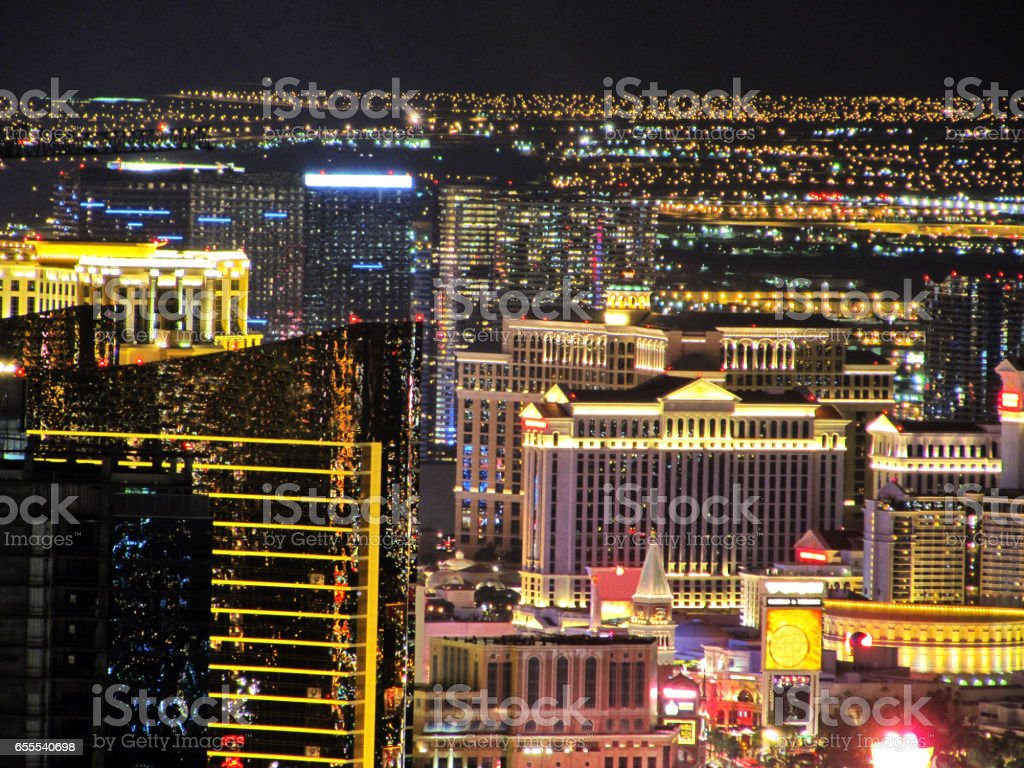 The Strip of Las Vegas - Hotels Aerial night View (Without Hotels names) stock photo