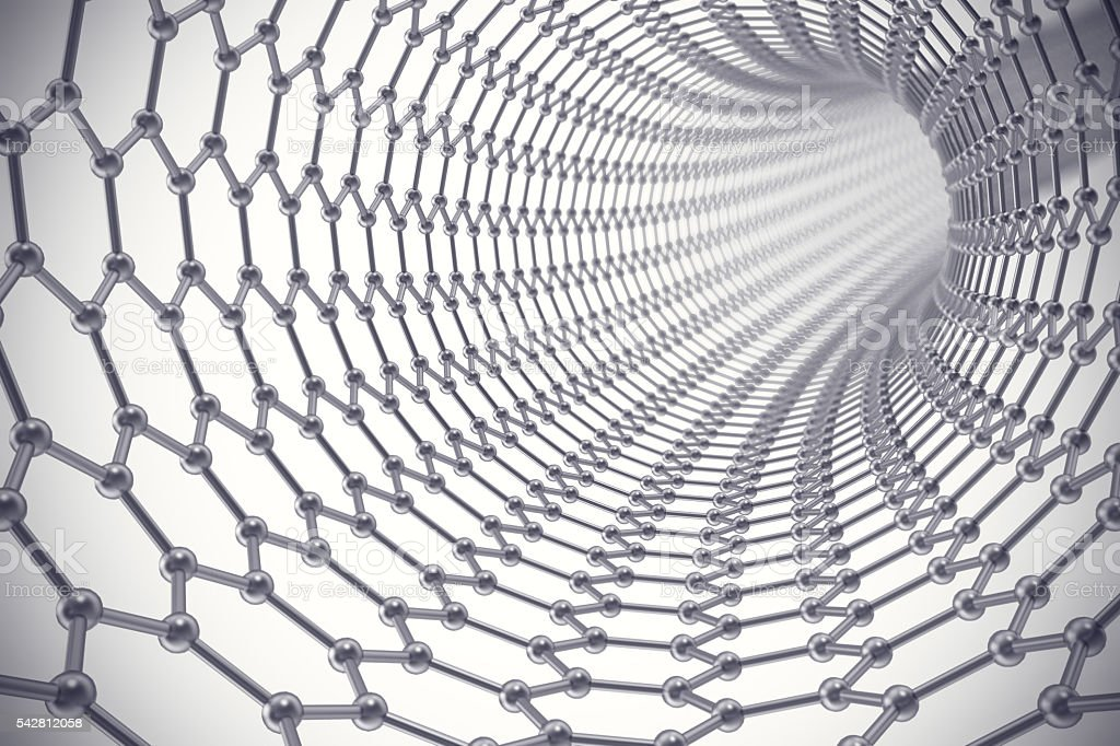 The structure of the graphene tube  nanotechnology. 3d illustration stock photo