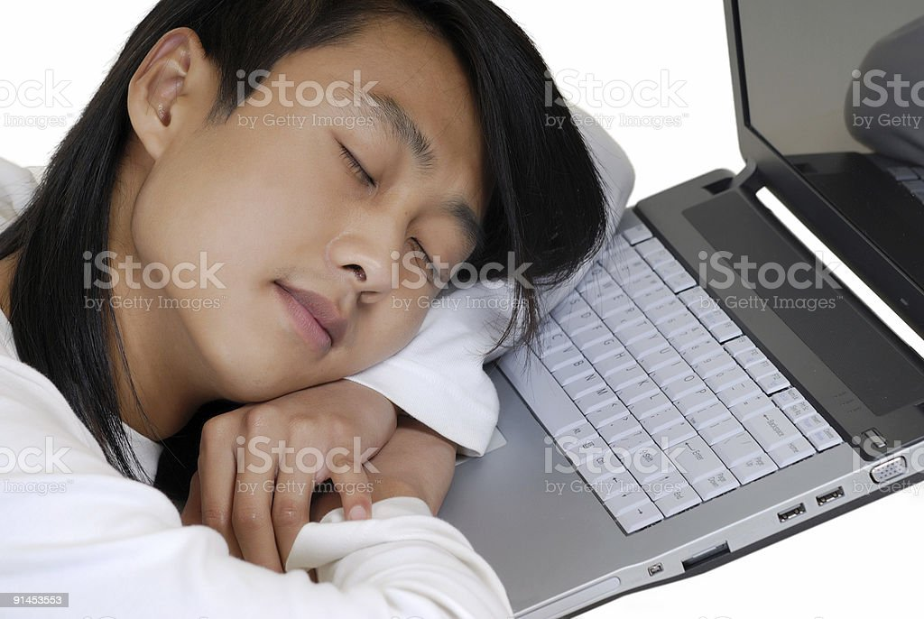 The student and laptop royalty-free stock photo