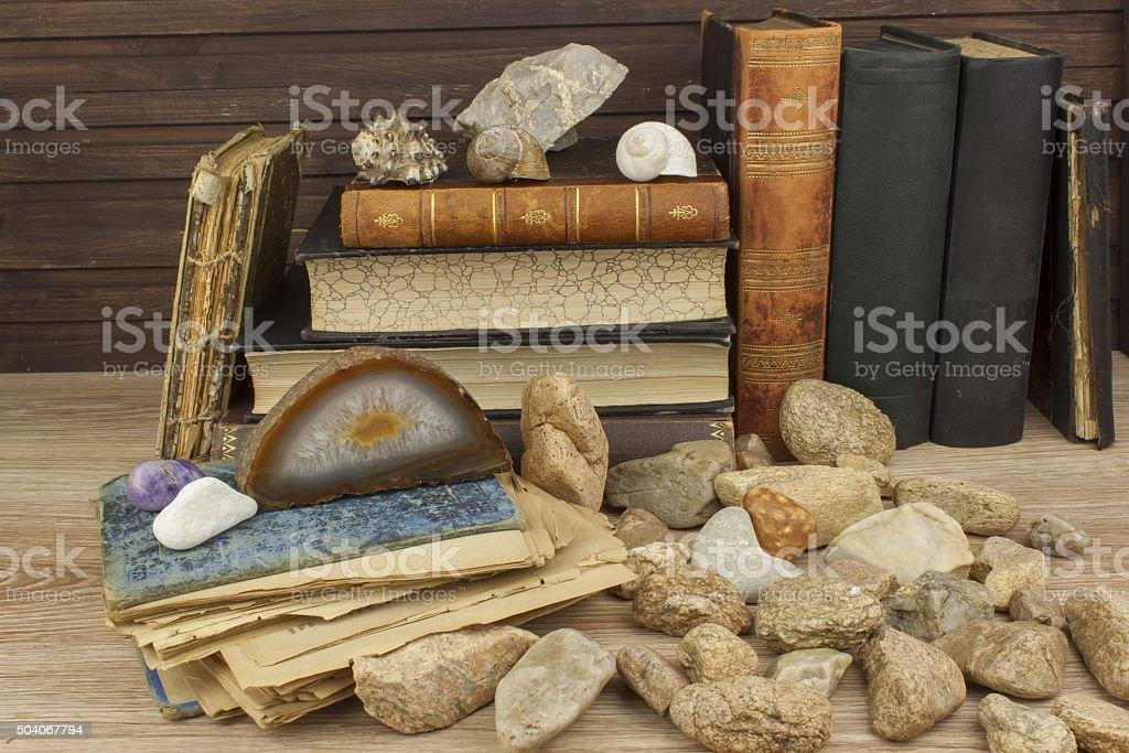 The study of mineralogy. University studies stock photo