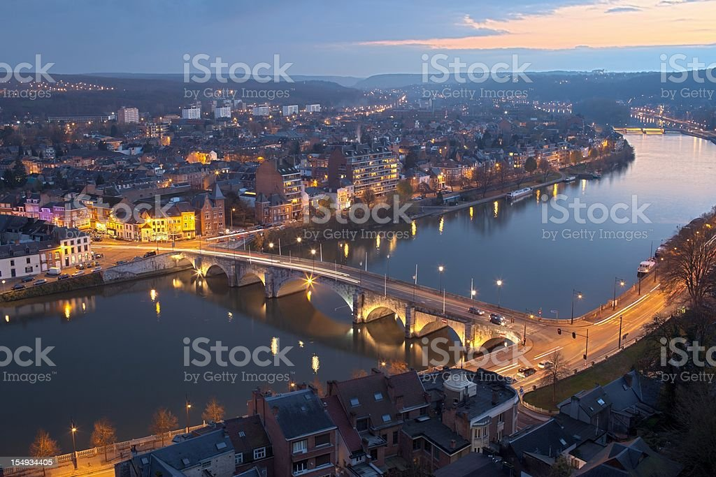 The stunning Namur from an aerial view at night time stock photo