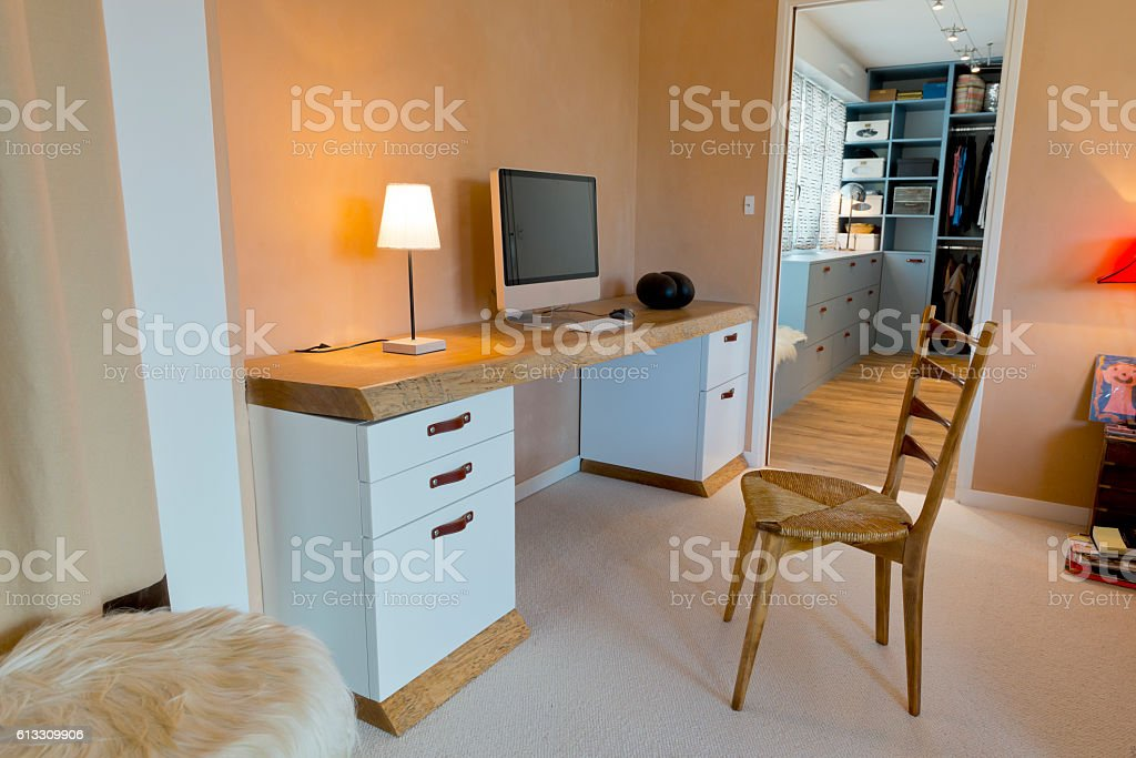 The stylish elegant  interior of home personal office room. stock photo