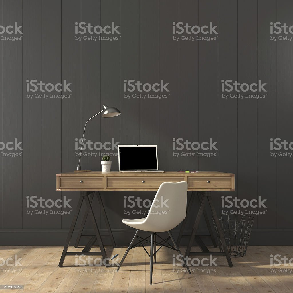 The stylish interior of home office stock photo