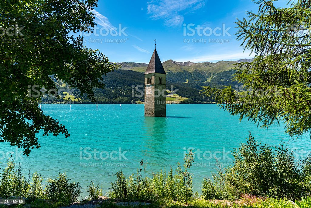 The submerged clock tower stock photo