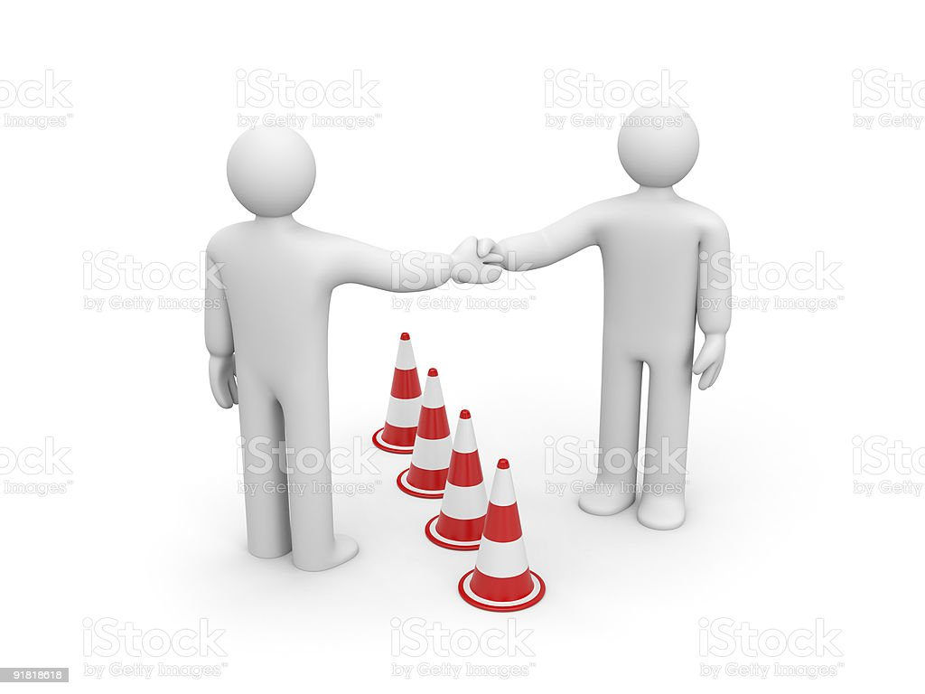 The successful agreement. Overcoming barrier! royalty-free stock vector art