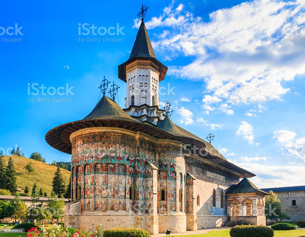 The Sucevita Monastery, Romania. stock photo