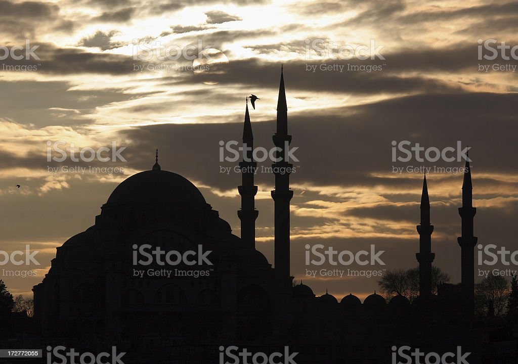 The Suleiman's Mosque before sunset royalty-free stock photo