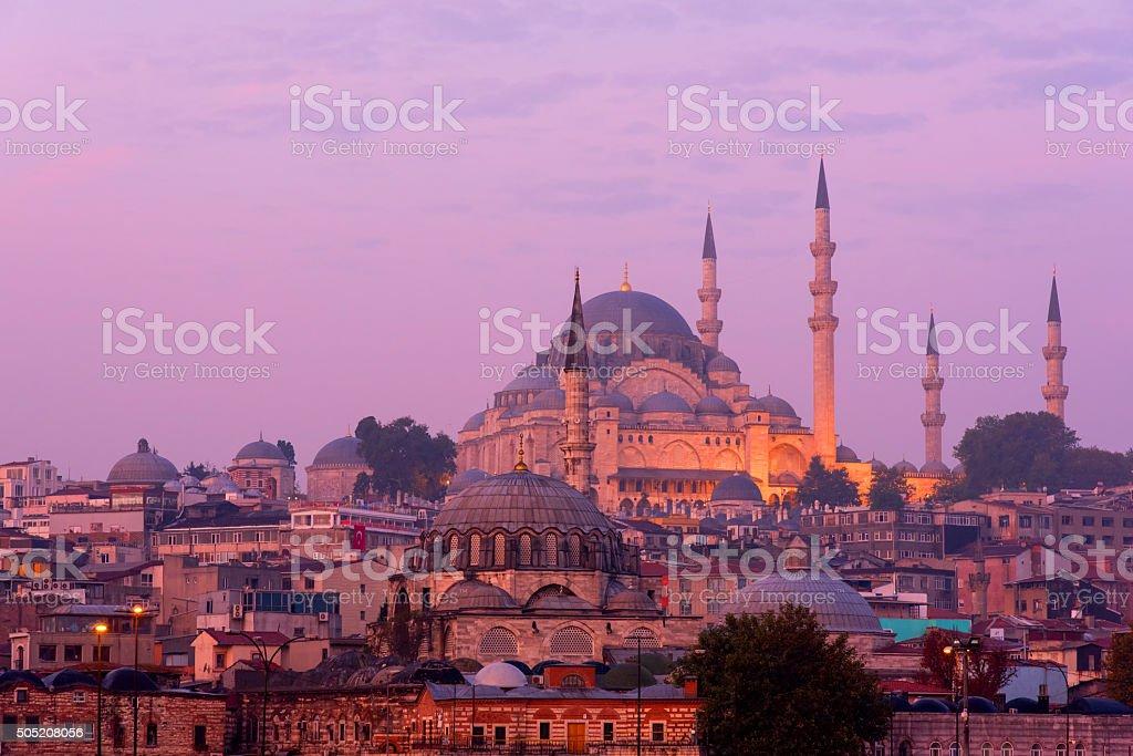 The Suleymaniye Mosque at dusk stock photo