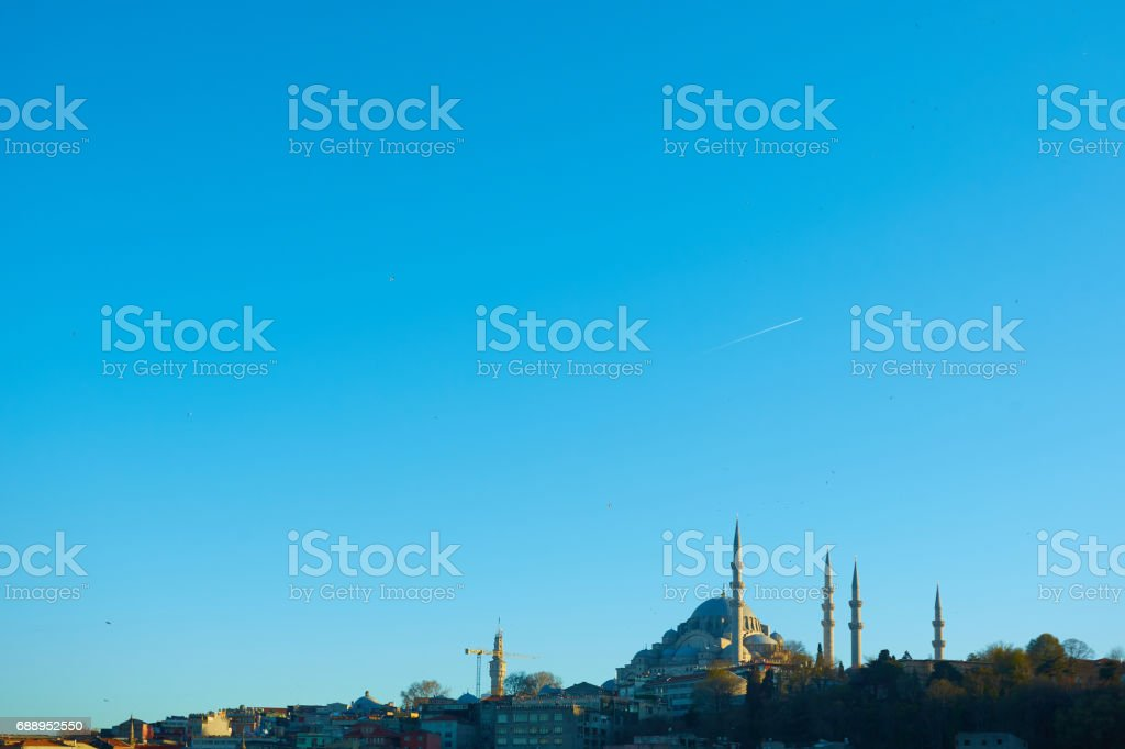 The Suleymaniye Mosque is an Ottoman imperial mosque in Istanbul, Turkey. It is the largest mosque in the city. stock photo