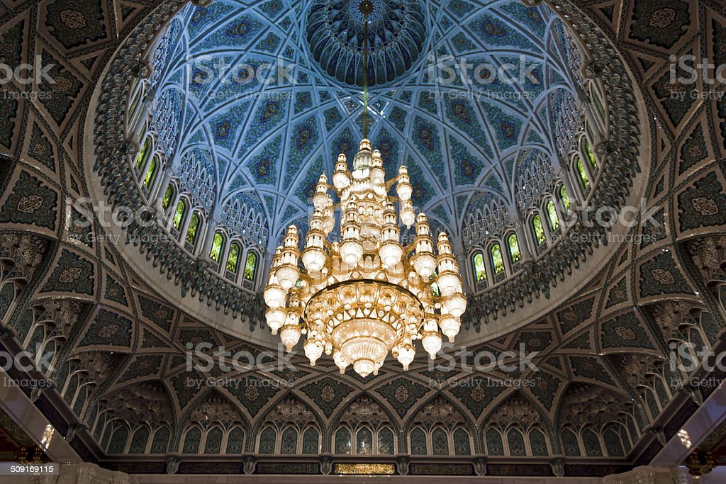 The Sultan Qaboos Grand Mosque chandelier stock photo