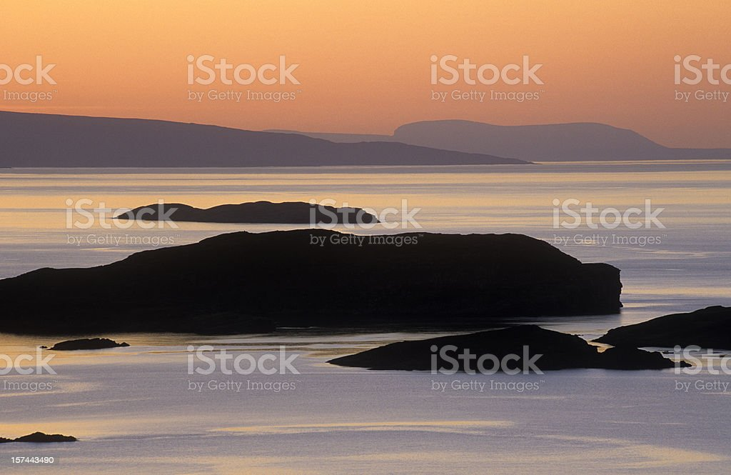The Summer Isles at sunset stock photo
