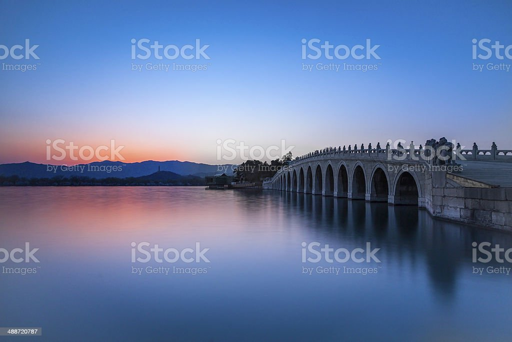 the summer palace in sunset stock photo
