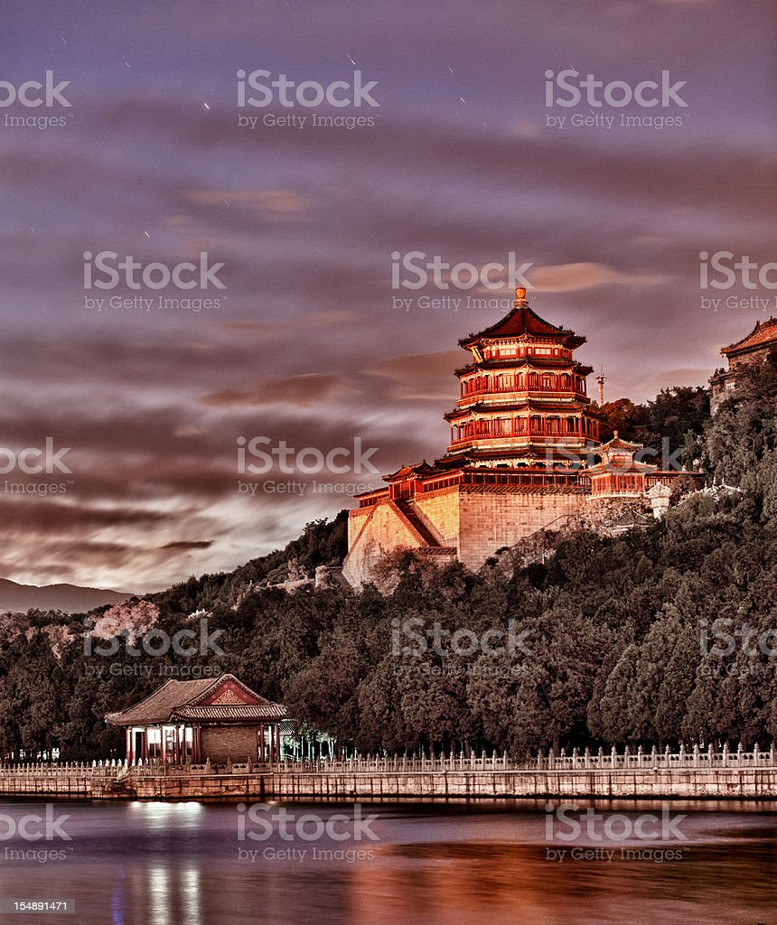 The summer palace of emperors in Beijing China stock photo