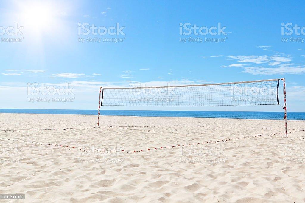 The summer sea beach volleyball court. Under the sun. stock photo