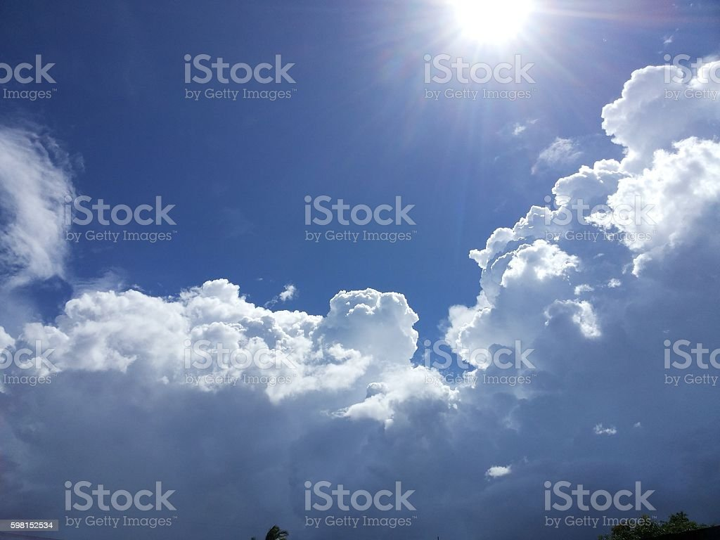 The sun above the cloud large stock photo