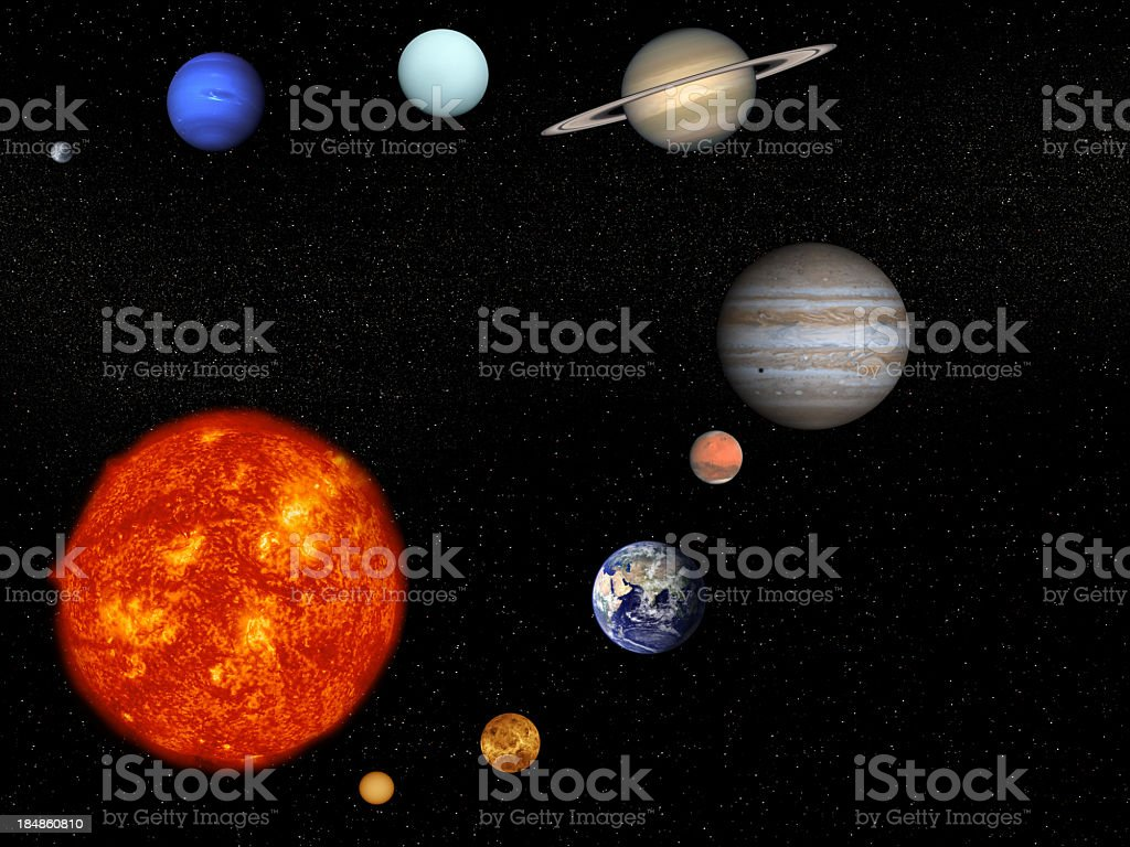 The sun and planets on a black background stock photo
