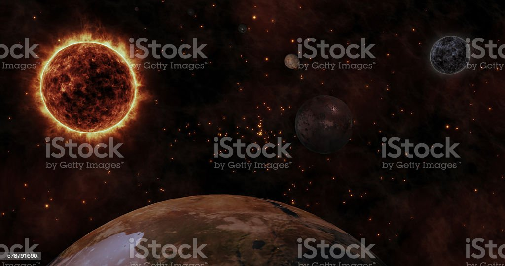 The Sun and Planets stock photo