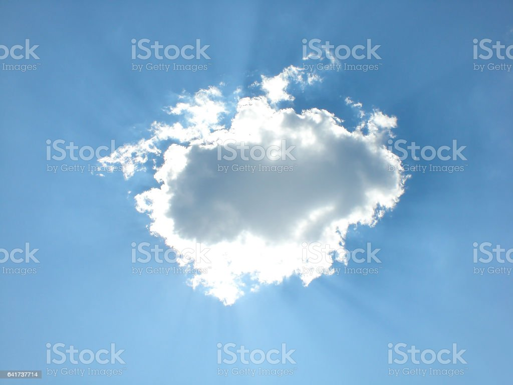 The sun behind a cloud, Moscow Region stock photo