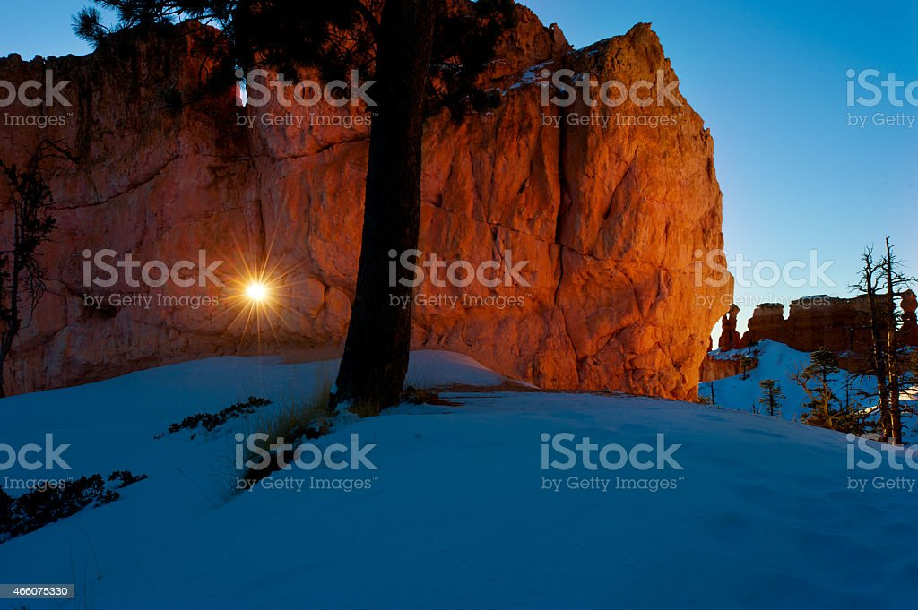 The sun came from a stone cave stock photo