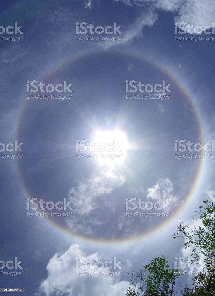 The sun corona, aura ring around the sun stock photo