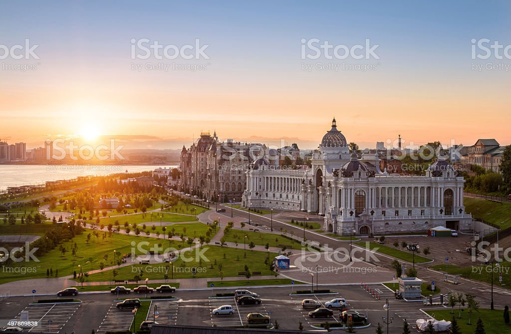The sun has woken up over Kazan stock photo