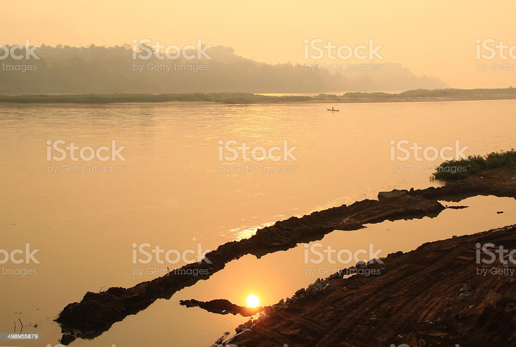 The sun in the river stock photo